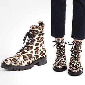 Alexander Wang Leopard Print Lace Up Combat Boots
